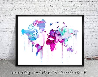 Original watercolor illustration fine art by watercolorbook blue purple watercolor map world map watercolor painting watercolor poster handmade poster gumiabroncs Gallery