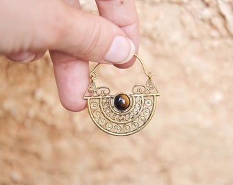 Gemstone Earrings, TIGERS EYE Jewelry, Crystal Earrings, Brass Earrings, Indian Earrings, Indian Jewellery, Tribal Earrings, Stone Earrings
