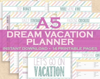 Vacation Planner, Travel Planner, Vacation Organizer, Travel Organizer 14 Printable Pages! A5 inserts, Kikki K, Filofax A5