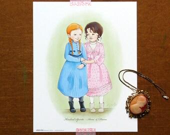 Anne of Green Gables Wall Art - Anne & Diana, Kindred Spirits - Little Girl Room Decor - Literary Art