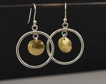 mixed metal earrings sterling silver and brass dome dangle hoop disc Earrings