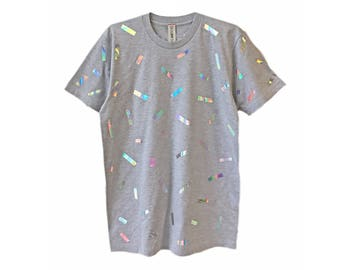 Holographic Confetti T-shirt   Iridescent Hologram Shimmer Tee Shirt Top   Grey Tonal Gray Mirror Unisex   Rave EDM Aesthetic Clothing