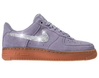 Bling Nike Air Force 1 '07 SE with Swarovski Crystals * Glacier Grey *  Bedazzled w/100% Authentic Swarovski Crystal Rhinestones