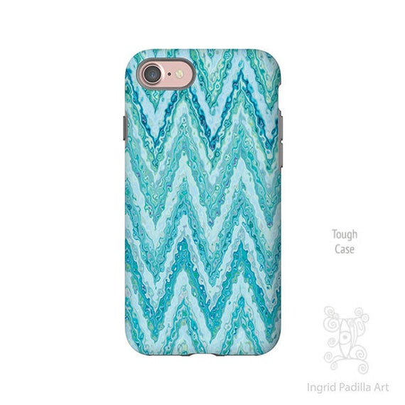 Blue Chevron phone case, Art by Ingrid Padilla