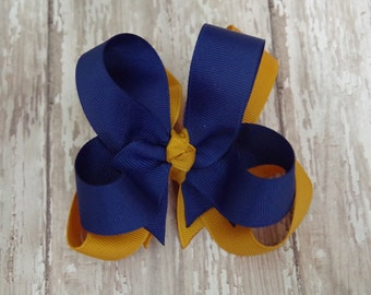 """Girls Hair Bow Royal Blue & Gold Double Layered 4"""" Boutique Hairbow School Uniform"""