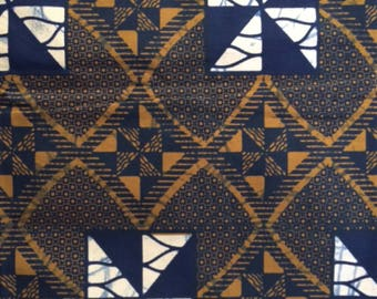 Cotton Bridge. African fabric textile cotton fabric - Brown and blue