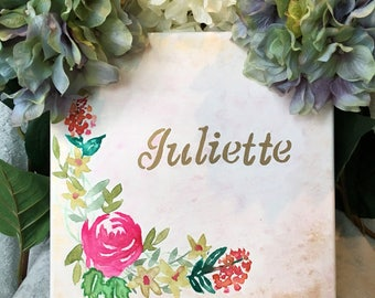 Custom Name Canvas with Floral Design