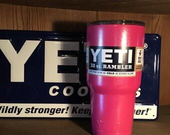 Authentic 30oz Powder coated Yeti Pink Magenta Shimmer