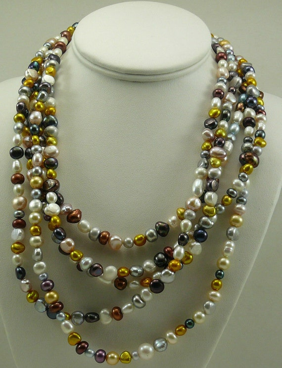 """Cultured Freshwater Multi-color Pearl Necklace with Sterling Silver Clasp 101"""""""
