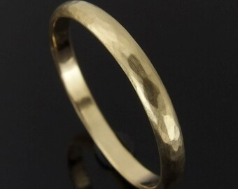 18k Gold Wedding Ring, Hammered Half Round 18k Gold Wedding Ring, 18k Gold Wedding Band, 18k Gold Ring, Satin Finish