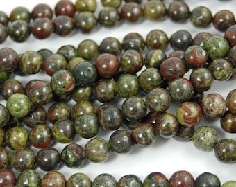 Dragon Blood Jasper 4mm, 6mm, 8mm, 10mm, 12mm, A grade -15.5 inch strand