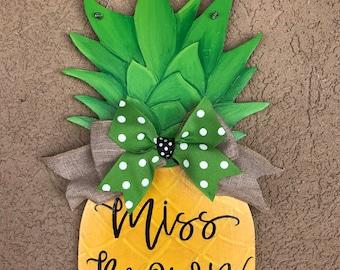 "Pineapple Door Sign-Teacher Sign-Welcome Sign-Pineapple Sign-Gift-14x7"""