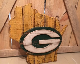 State of Wisconsin with Green Bay Packers logo