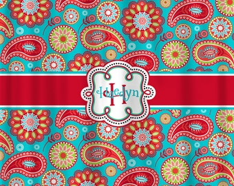 Personalized  Designer Gypsy Paisley  & Chevron Shower Curtain Turquoise and Red- Personalized Your Initial(s) and/or names