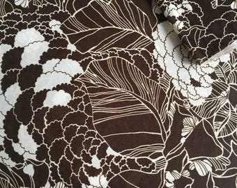 Vintage Fabric 70's Brown, White, Polyester, Material, Textiles