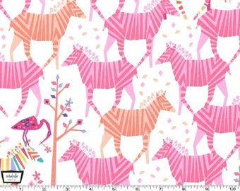 Origami Oasis - Show Your Color Zebras Confection Pink by Tamara Kate from Michael Miller