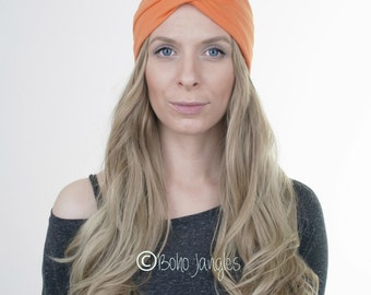 Orange Jersey Turban, Yoga Headband, Workout Hairband, Boho Turban, Twisted Headband, Stretchy Headband, Hair Tie, Yoga Headband, Running