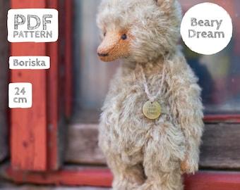 Artist Mohair Teddy Bear pattern, teddy bear pattern, teddy pattern, stuffed toy pattern, soft toy pattern, 24 cm, Boriska