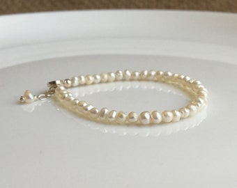 Pearl Baby Bracelet Sterling Silver Natural Freshwater Pearls