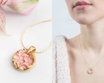 Gold necklace Gold plated necklace Pink and gold necklace Gold pendant necklace Pink necklace Ceramic necklace Artisan necklace Pink pendant