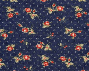1/2 Yard - Quilts of Valor Red Flowers on Liberty Blue by Minick and Simpson for Moda Quilt Fabrics