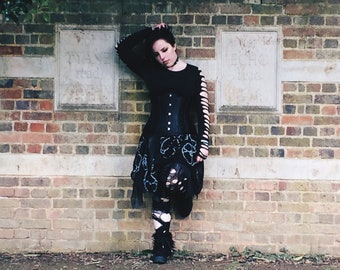 Illusion Skirt ||One of a Kind Gothic Multilayer Pixie Skirt||