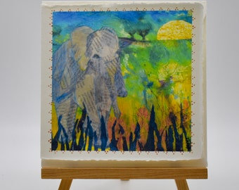 mixed media print of a baby elephant, vibrant and colourful
