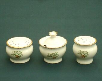 Vintage spices set porcelain table spices set salt cellar mustard jar salt pepper shaker soviet vintage stoneware spices set made in USSR