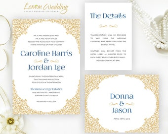 Gold and navy blue wedding Invitations + RSVP + inclosure cards | Victorian wedding invitations | Personalized wedding invitation printed