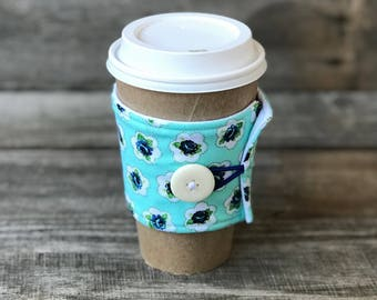 Blue Rosette Coffee Cozy
