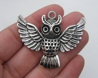2 Owl pendants antique silver tone B261
