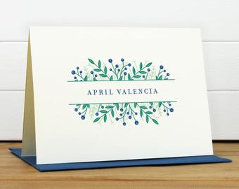 WILDFLOWER [NAVY COLORWAY] Personalized Stationery Set - Personalized Stationary Set - Custom Personalized Notecard Set - Flower Pretty Gift