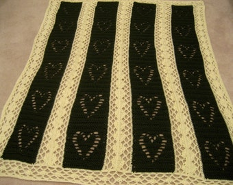 Hearts and Diamonds Crocheted Wedding/Anniversary Afghan Throw
