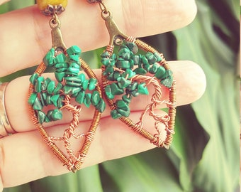 Tree of life earrings with Malachiet and Jade