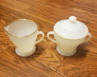 Anchor Hocking Fire King sugar bowl and creamer