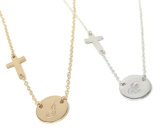 Sideways Cross Initial Necklace, Sideways Cross Necklace, Peronalized Cross Necklace, Sterling Silver, 14K Gold Filled and Rose Gold Filled