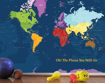 World map decal for kids, Worldmap Mural Decal, Very big wall decal, 102X82 Inches, Nursery Wall decal, Baby Room, Playroom ideas, boys room