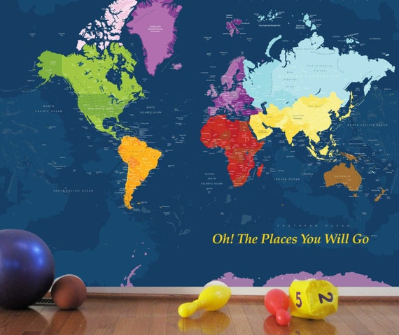 World map decal for kids worldmap mural decal very big wall like this item gumiabroncs Choice Image