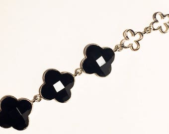 925 Women's Sterling Silver Bracelet with Black Onyx Stone