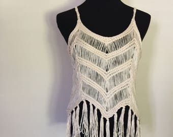 Boho style tank top with fringe, beige color, one size fits most XS S M
