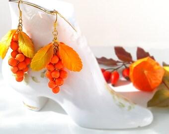 Rowan earrings. Autumn jewelry. Clay flowers. Floral earrings.