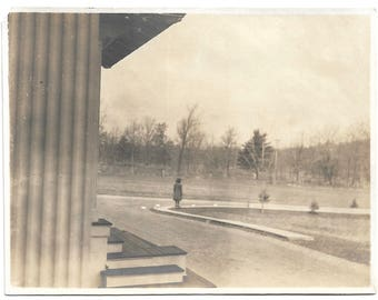 """Vintage Snapshot """"All Alone Am I"""" Lone Figure Stands On Street Corner Back To Camera Abstract Artistic Found Vernacular Photo"""