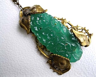 Peking Glass Oriental Pendant, Czech Molded Pierced Jade Green Glass Floral Oblong, Ornate Gilt Brass Leaf Flowers, Asian Eastern Theme
