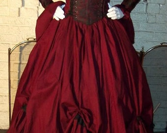 Dracula Gothic  Renaissance Pirate Gown Dress costume Vampire Womens custom