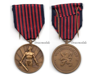 Belgium WW2 Military Medal  Volunteers Voluntary Service Decoration 1940 1945 World War 2 Belgian Army Award
