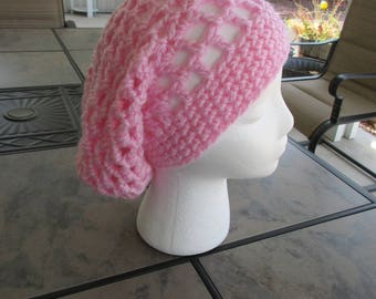 Pink Slouchy Beanie - Breast Cancer Awareness