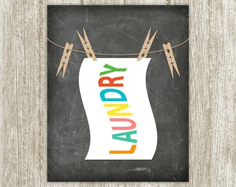 Chalkboard Laundry Print, Laundry Printable, Clothespin Print, Laundry Wall Art, Laundry Sign, Laundry Poster 8x10 11x14 Instant Download