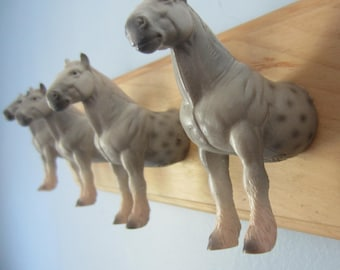 Upcycled Wall Peg Rack with Percheron Stallion Horse Toy Clothes Hooks