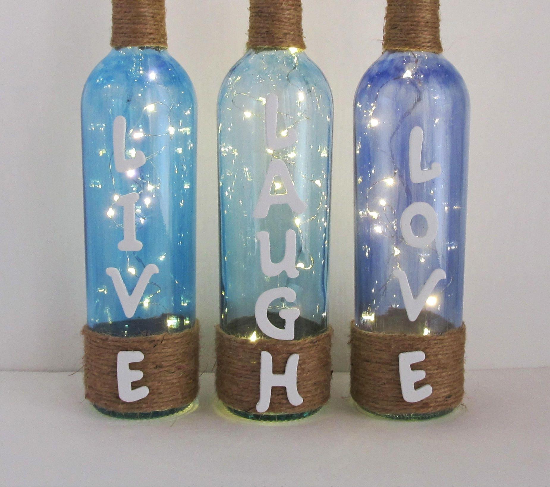 Live Laugh Love Wine Bottle Set Beautiful Hand Painted Wine