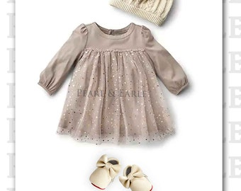 Holiday Baby Dress, Baby Girl Shoes, Baby Girl Moccasins, Christmas Baby Girl, Leather Moccasins, Baby Shoes, Baby Moccasins, Baby Dress
